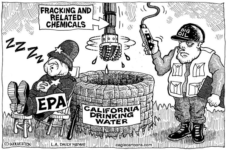 This image has an empty alt attribute; its file name is 2016-cartoon-big-oil-injecting-frac-waste-into-california-drinking-water-aquifers.jpg