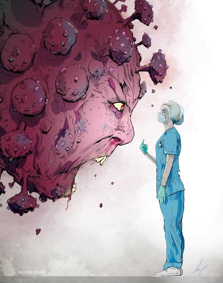 This image has an empty alt attribute; its file name is hero-sketch-by-mj-hiblen-coronavirus-vs-women.jpg