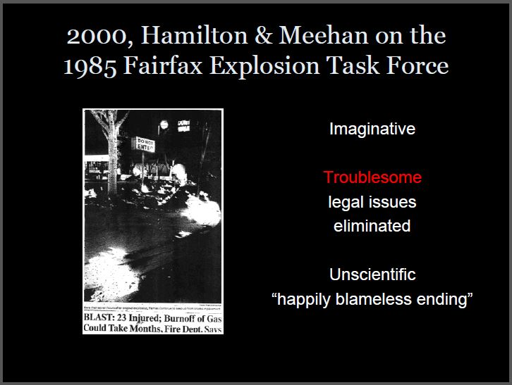 2000 Meehan & Hamilton on Dress For Less explosion, Unscientific 'happily blameless ending'