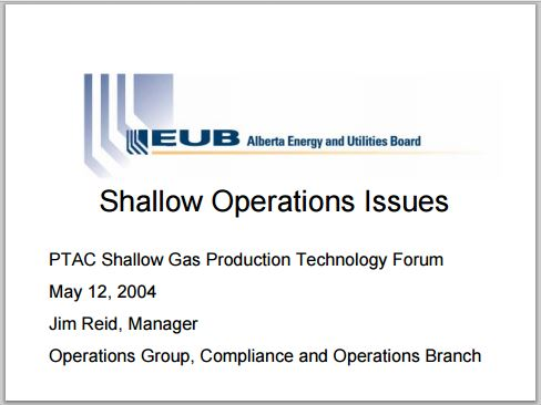 2004 05 12 AER, then EUB, Manager Jim Reid presentation on high risk shallow frac operations 1