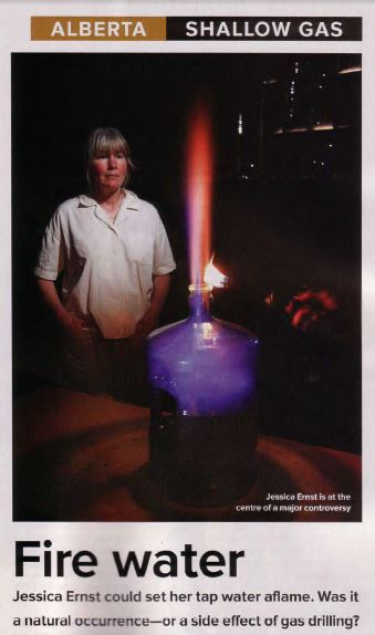 2006 Firewater in Canadian Business Magazine by Nikiforuk, photo Jessica Ernst and her frac contaminated drinking water