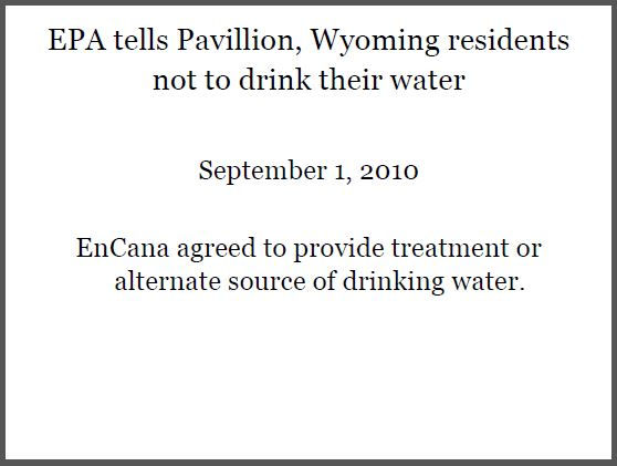 2010 09 01 Dont drink Pavillion's water, Encana agrees to provide alternate water