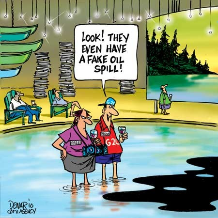 2010 Steve Harper's Fake Lake cartoon, even comes w its own oil spill by Dewar061110