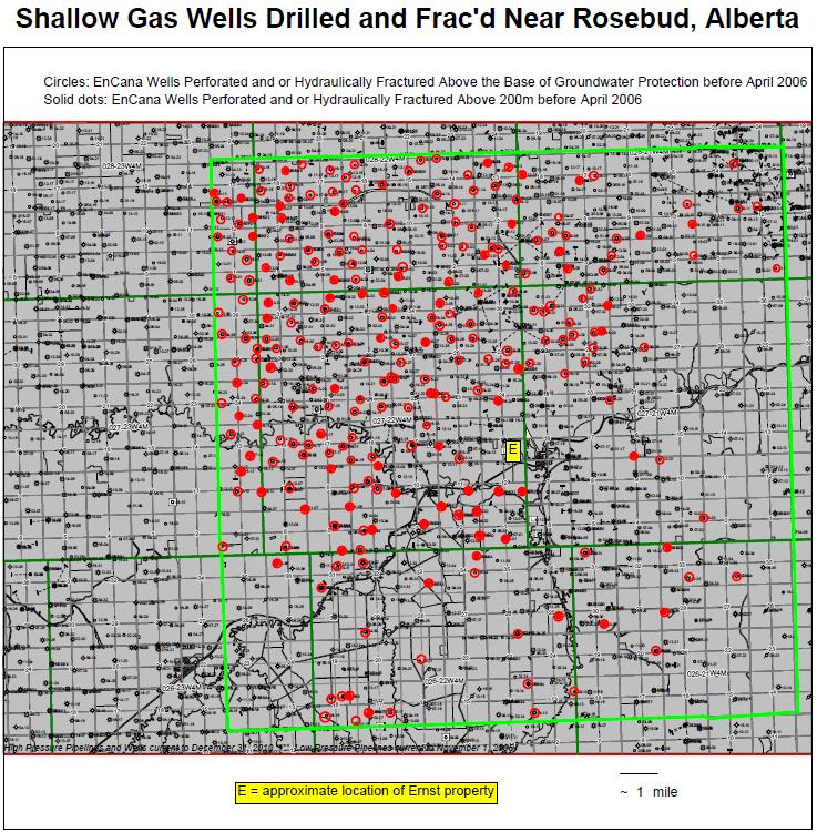 EnCana Shallow Gas Wells (Including CBM) at Rosebud Alberta