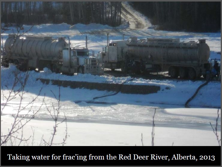 2013 Taking water from Red Deer River for Fracing in Alberta