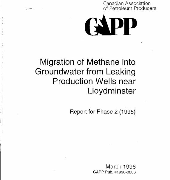 1996 03 CAPP Canadian Association of Petroleum Producers Cover Migration Methane into Groundwater from Leaking Energy Wells