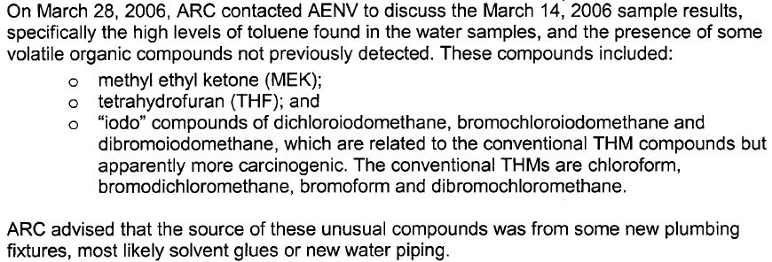 2006 snap from Alberta Environment report on carcinogens and usually high levels of toluene in Rosebud Hamlet drinking water