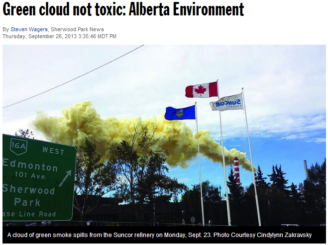 2013 09 26 Huge Green Cloud not toxic says Alberta Environment, even though they did not see it