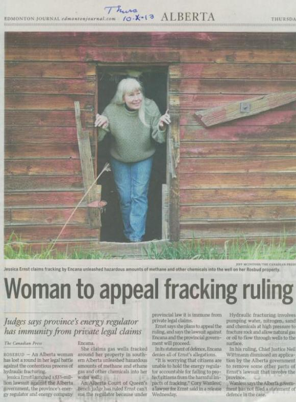 2013 10 10 Woman to appeal fracking judgement that a provincial regulator can violate constitutional rights of Canadians with immunity Edmonton Journal