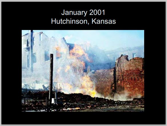 2001 Hutchinson Kansas explosions killed two people industry's leaking gas eventually was found to have caused the explosions