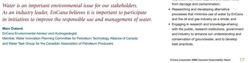 2013 12 23 screen capture encana corporate responsibility report 2006 marc dubord hydrogeologist quote