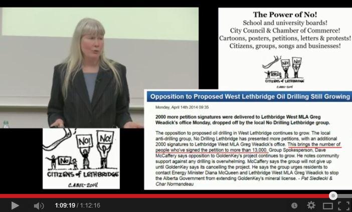 2014 03 25 Jessica Ernst presentation University of Lethbridge Alberta The Power of No Abel cartoon and oppoition still growing