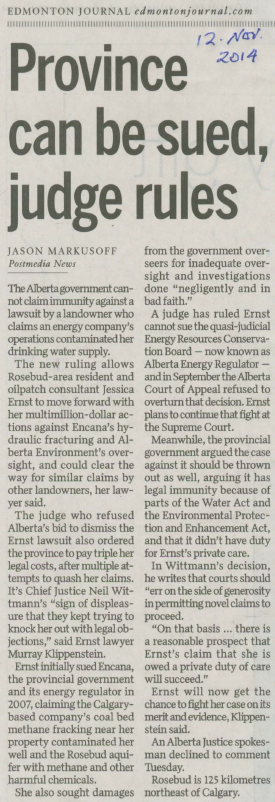 2014 11 12 Alberta government can be sued, judge rules snap Edm Journal