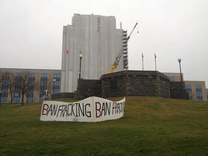 2014 12 02 ban fracing by Social  Justice  Co-op in front confederation bldg St John's Newfoundland