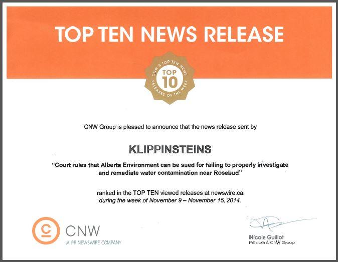 2014 12 04 Klippensteins Top 10 CNW News release for Ernst vs Alberta Environment, snap