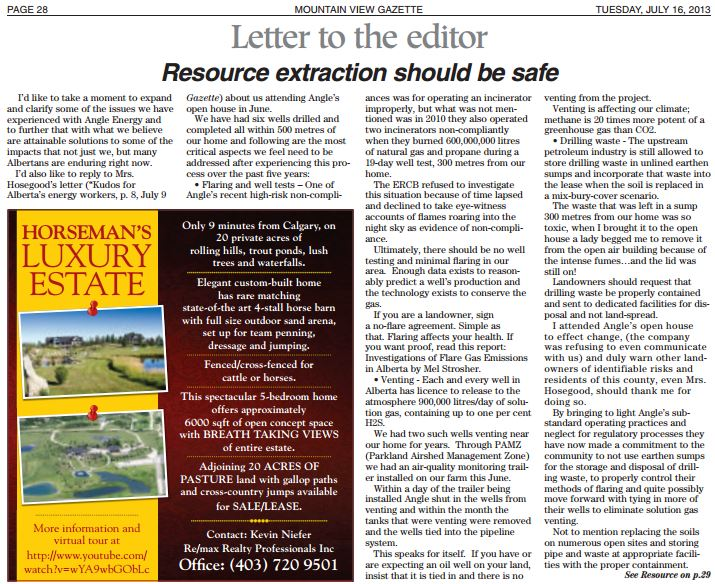 2013 07 16 Resource extraction should be safe Letter by Diana Daunheimer
