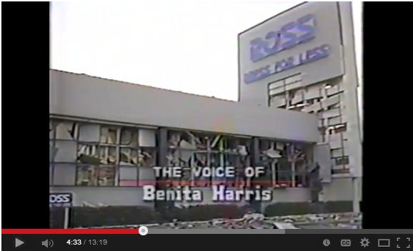 1985 Ross Dress for Less Explodes Youtube voice of Benita Harris