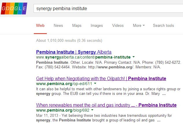 2014 02 07 screen grab of google search synergy pembina institute