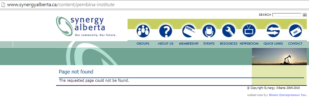 2014 Why did Pembina Institute, after 8 years a Synergy Member, get the instute removed from the Synergy Website