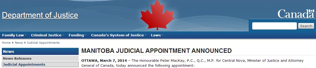 2014 03 07 Vic Toews appointed Manitoba Court of Queen's Bench