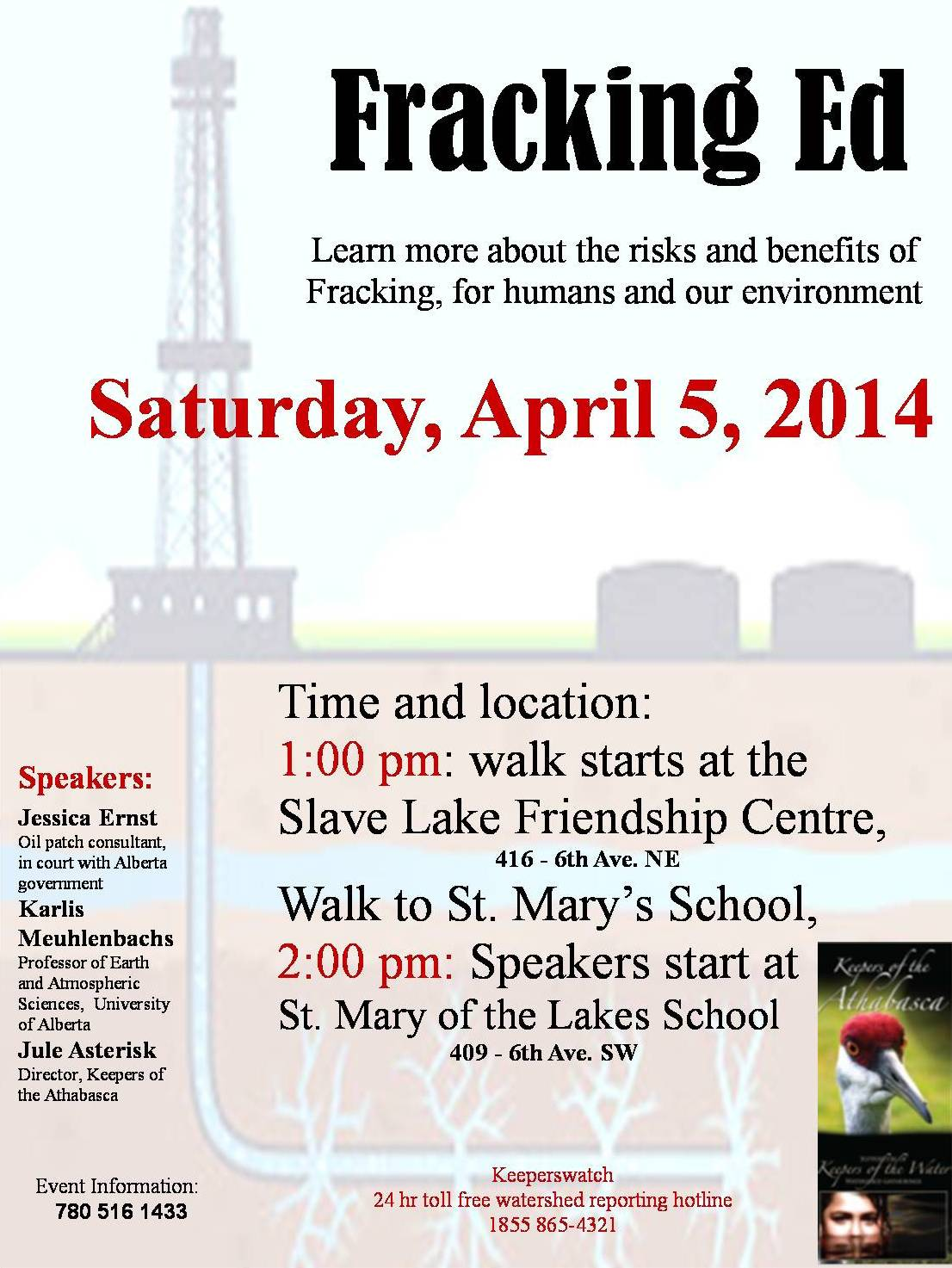 2014 04 05 Fracking Ed at Slave Lake Alberta with Jule Asterisk Dr. Karlis Muehlenbachs and Jessica Ernst