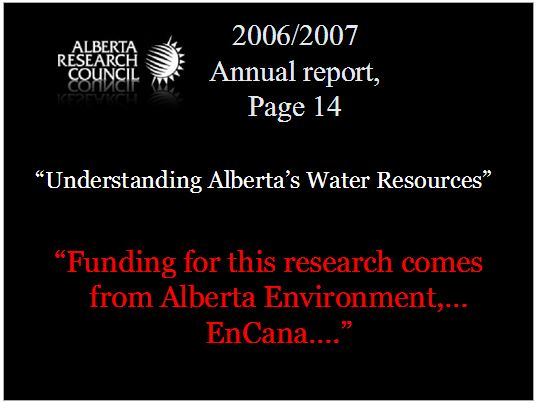 2006 2007 Alberta Research Council getting funding from Alberta Environment and Encana