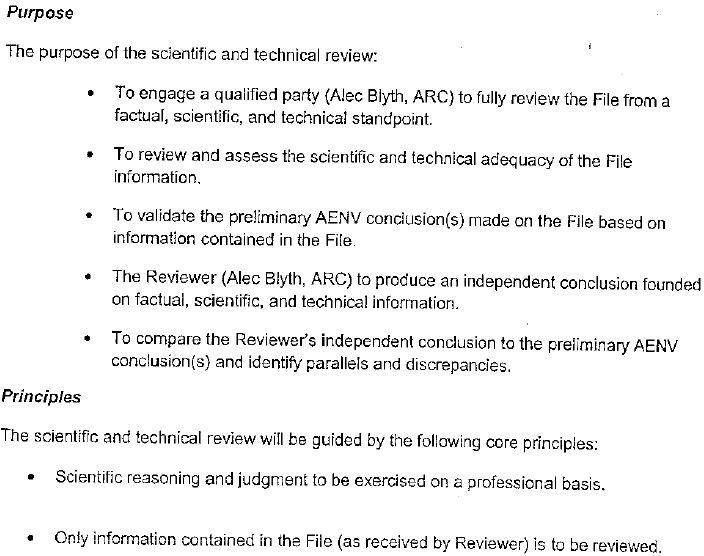 2007 Alberta Environment Official Terms of Reference for ARC Dr Alec Blyth's 'independent' review on water contamination cases from fracing