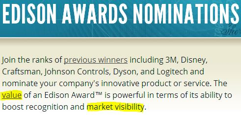 2014 04 29 Corporations nominate themselves to Edison Awards is just a marketing ploy
