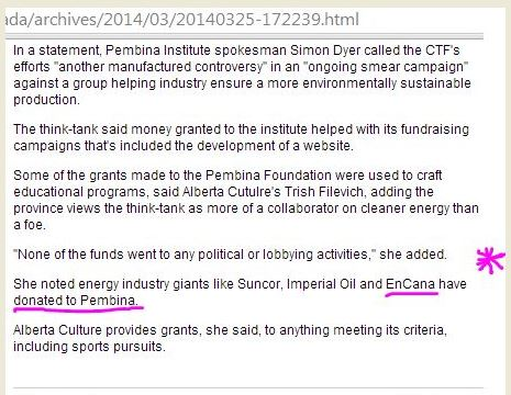 2014 03 25 Snap Sunnews article reporting Encana donated to Pembina