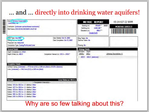 2014 05 24 snap Countenay presentation by Ernst In my community encana frac'd directly into Rosebud drinking water aquifers