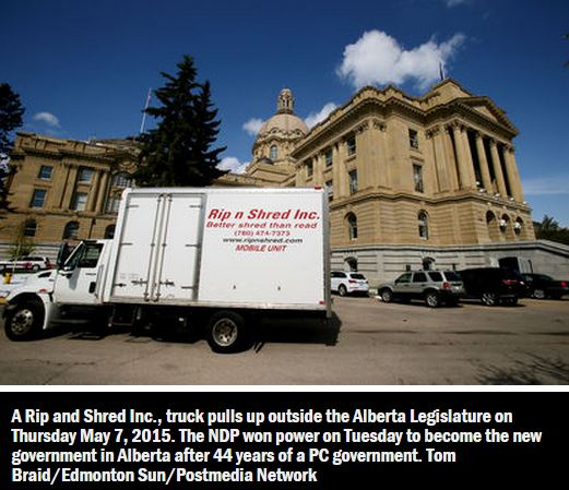 2015 05 07 Edmonton Sun Rip and Shred truck photo outside Alberta legislature after huge PC loss to Notley's NDP May 5