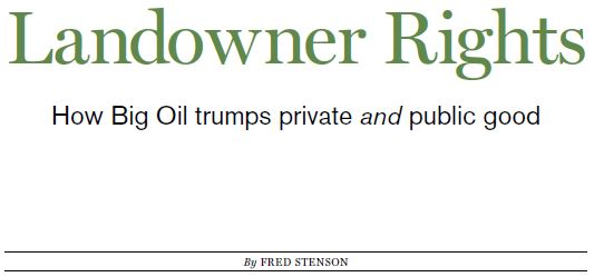 2015 06 snap Alberta Views Landowner rights, How big oil trumps private and public good by Fred Stenson, title snap