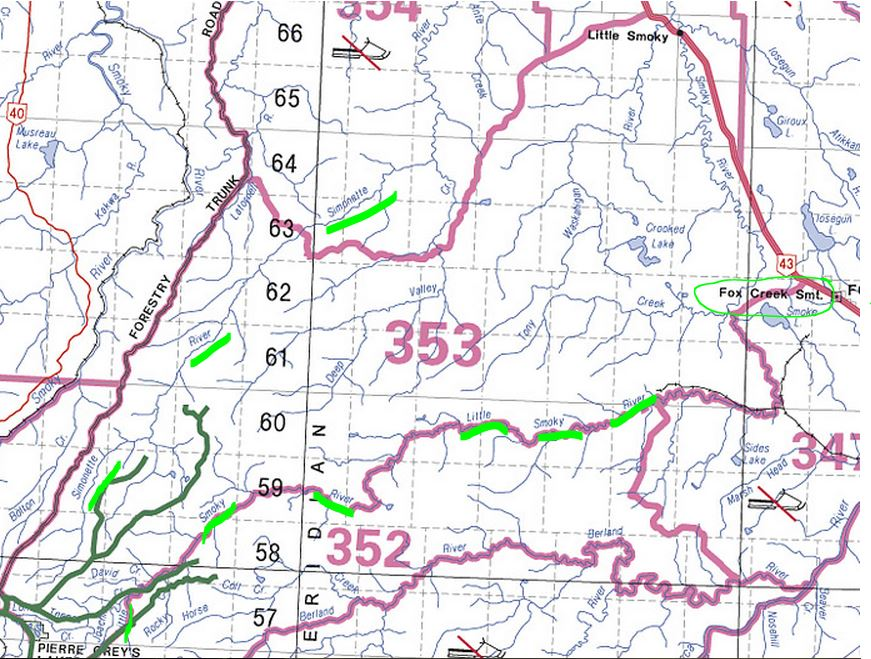 2015 07 19 map Fox Creek area rivers, including Simonette and Little Smoky under Alta govt low flow advisories