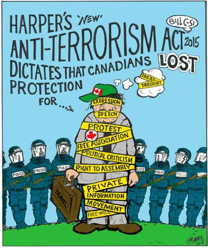 2015 07 Cartoon by C Abel, Harper's Rights violating Anti-Terrorism-Act_RGB