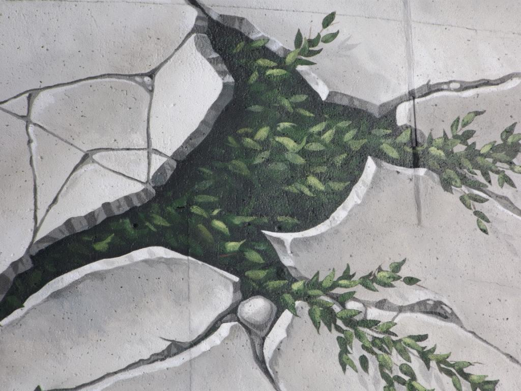 2015 Chevron funded Fox Creek water tower mural, did fracking crack it, close up fracs