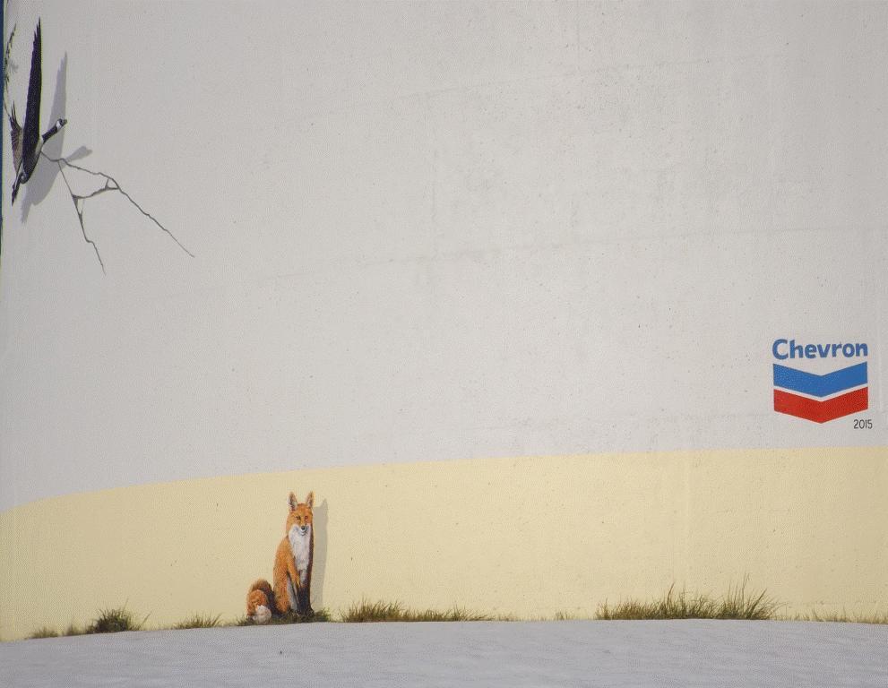 2015 Chevron funded Fox Creek water tower mural, did fracking crack it, w chevron logo