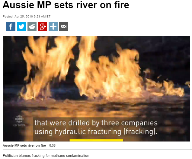 2016 04 25 CBC website main page 'Must Watch' video, 'Aussie MP sets Condamine River on fire, near CBM CSG wells frac'd by 3 companies2