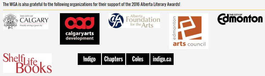 2016 06 04 Writer's Guild of Alberta Awards Sponsors
