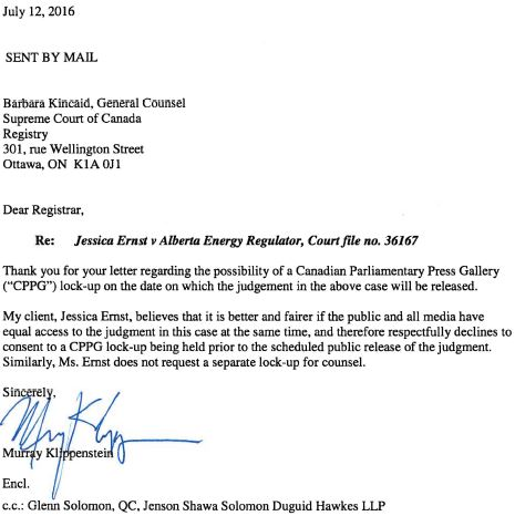 2016 07 12 Klippensteins to SCC, declines consent re media lock-up request by Parliamentary Press Gallery
