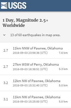 2016 09 03 5.6M earthquake Pawnee Oklahoma, in swarm of 13 quakes, snap 2