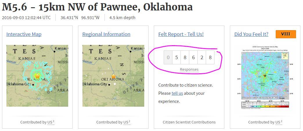 2016 09 03 Midnight, 58,628 responses to USGS, felt 5.6M Pawnee Oklahoma earthquake, as far as 2323 km away in Boston