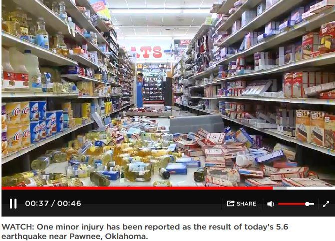 2016 09 03 snap from global news clip on Pawnee Oklahoma 5.6 M earthquake