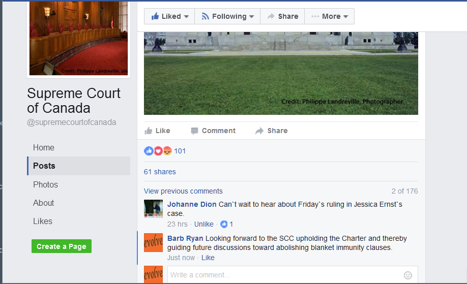 2017 01 11 SCC FB page comments by Johanne Dion and Barb Ryan on Ernst vs AER