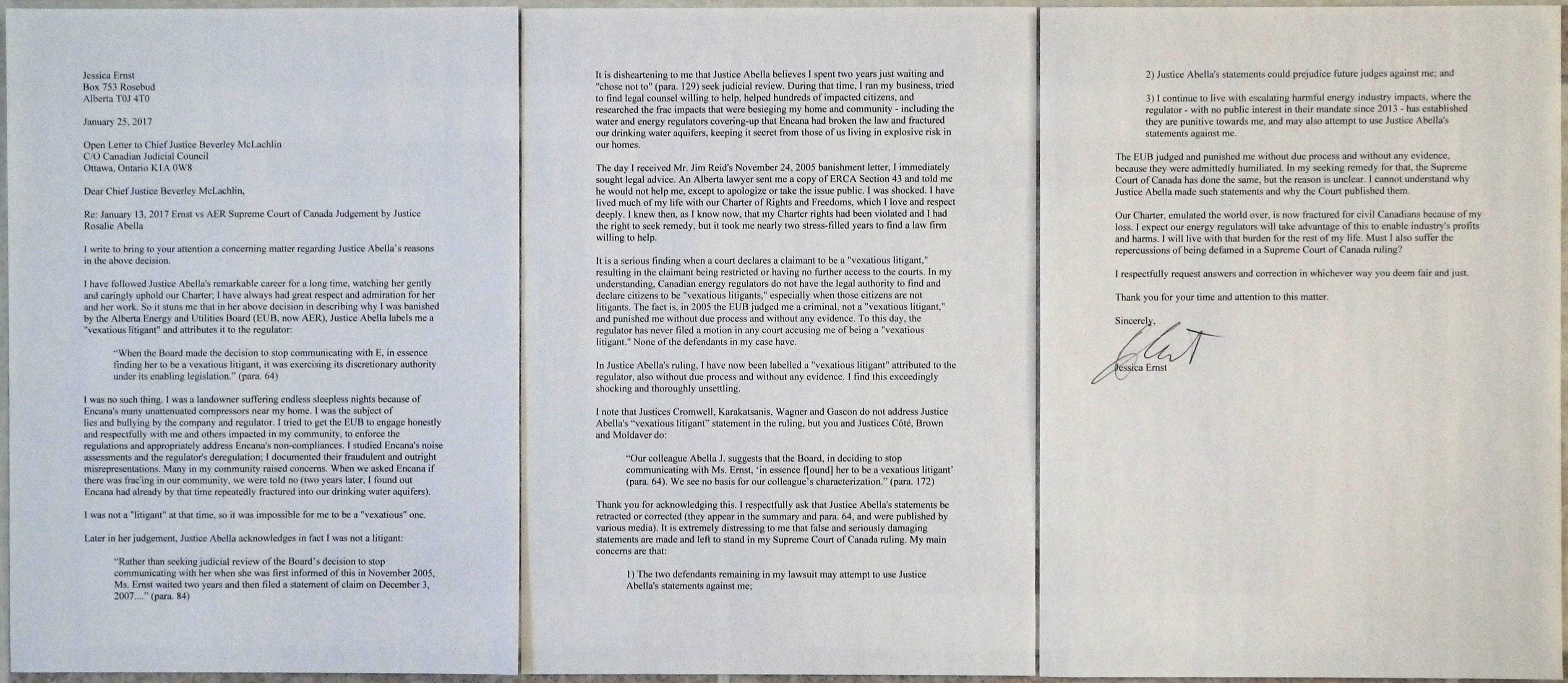 2017 01 25 photo letter Jessica Ernst to CJ Beverley McLachlin, regarding Justice Abella's false statements in her Jan 13, 2017 ruling Ernst vs AER