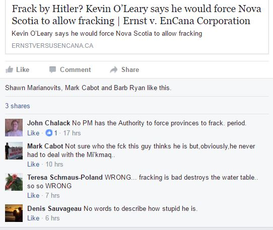 2017 01 31 snap of ASRG FB page comments to Frack by Hitler post, Kevin O'Leary bullying Canadian provinces