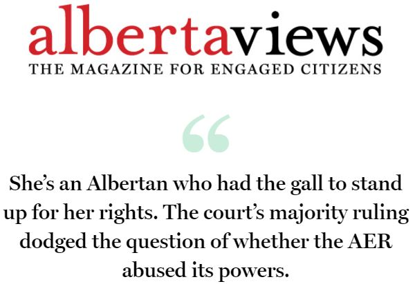 2017 03 29 Kevin Van Tighem's 'Betrayed' digital version quote, 'She's an Albertan who had the gall to stand up for her rights.' Alberta Views April