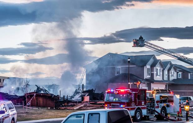 A home explosion in Firestone Monday, April 17, 2017 killed two and sent two people to the hospital. Dennis Herrera/ Special to The Denver Post