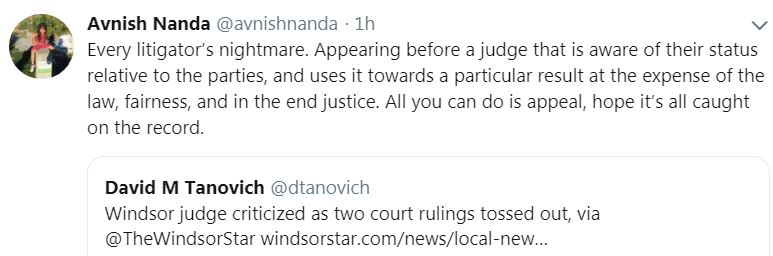"snap of twitter comment by edmonton lawyer Avnish Nanda, ""every litigator's nightmare"""