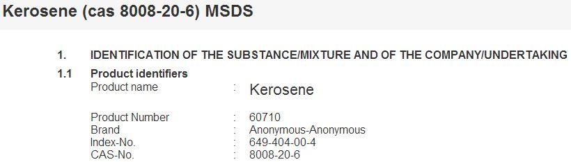 CAS # 8008-20-6 kerosene