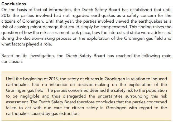 Dutch Safety Board on natural gas extraction causing damaging earthquakes in Groningen
